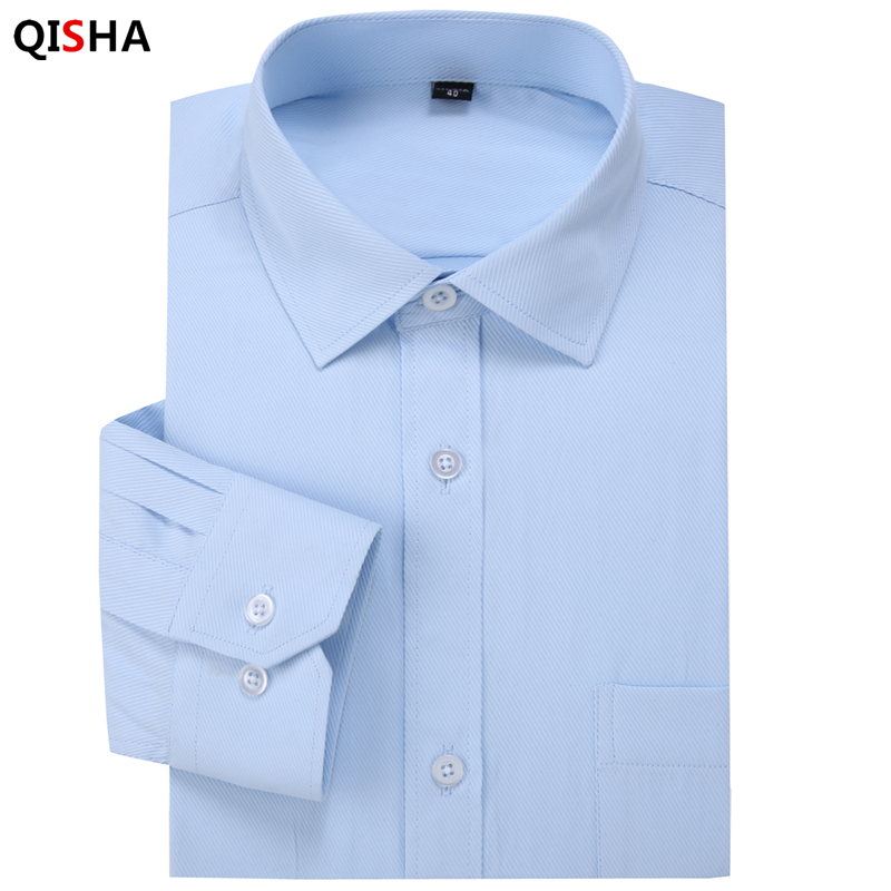 2017 New Twill Solid Color Men's Business Casual Long Sleeved Shirt High Quality Male Social Dress Shirt Black Blue White Purple