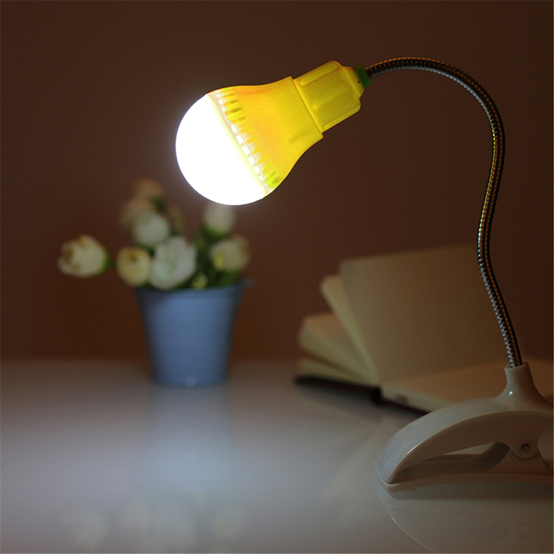 Portable 360 Adjustable USB Plug LED Clamp Night Light Compact Bed Desk Edge