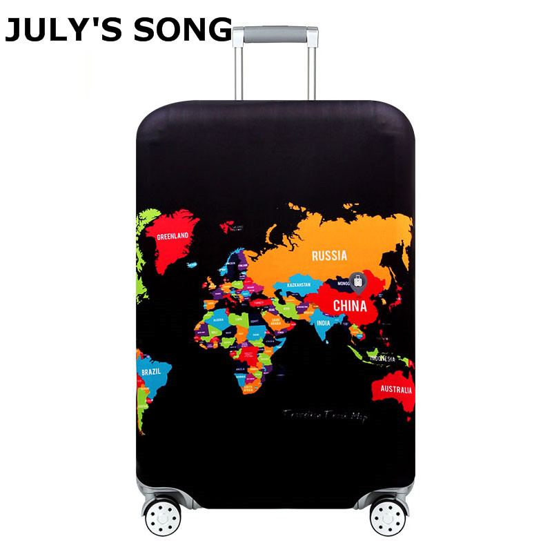 JULY'S SONG World Map Suitcase Protective Cover Travel Accessories Elastic Luggage Dust Cover Apply to 18''-32'' Case Cover