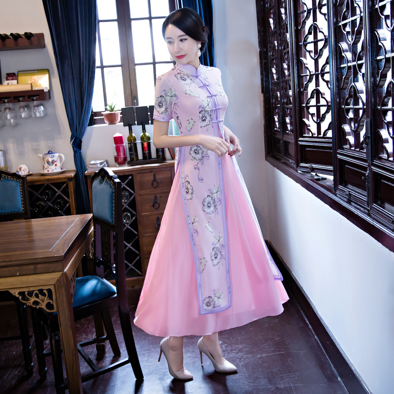 Ao Dai Qipao Long Cheongsams Dress Two Pieces Chinese Traditional Dress Plus Size Summer Flowers Vintage