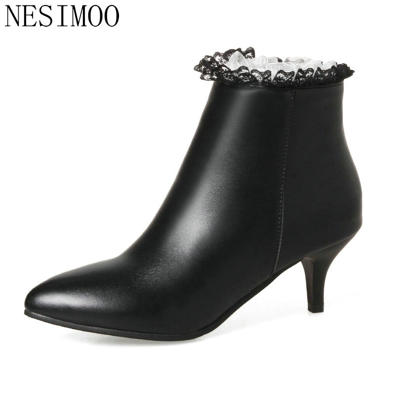 NESIMOO 2018 Woman Boots Ankle Boots Thin High Heel Women Shoes Pointed Toe PU leather Lace Ladies Motorcycle Boots Size 34-43 qutaa black thin high heel woman pu leather ankle boots elegant women shoes lace up ladies motorcycle boots size 34 43