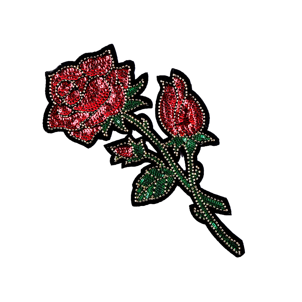 1 Pcs Big 3D Patches Sew on Flower Patch Embroidery Sequin Motif Red Rose Applique Garment Women DIY Clothes Sticker Wedding in Patches from Home Garden