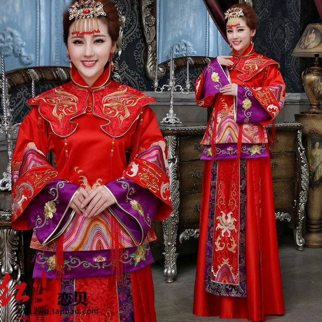 6a2e3073a Studio theme clothing Xiu big red cheongsam dress code toast the bride  wedding dress clothes costume Chinese L10