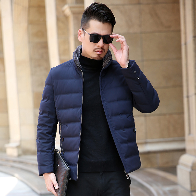 2018 New Winter Causal New Men's   Down     Coat   High Quality Youth Short Section Collar Fur Collar Warm White Duck   Down   Jacket