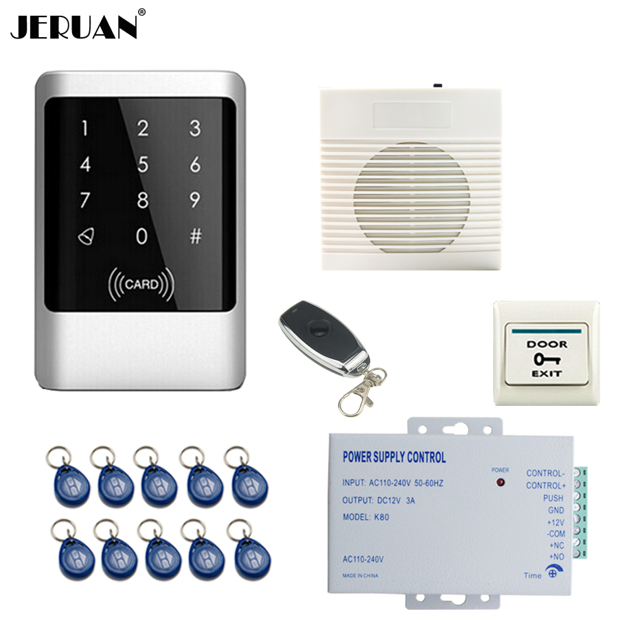 JERUAN Metal Waterproof RFID Password touch Access Controller system kit+doorbell+Remote control+Free shipping metal shell touch keyboard 125khz rfid access control system entrance guard password and rfid 10pcs crystal keyfob
