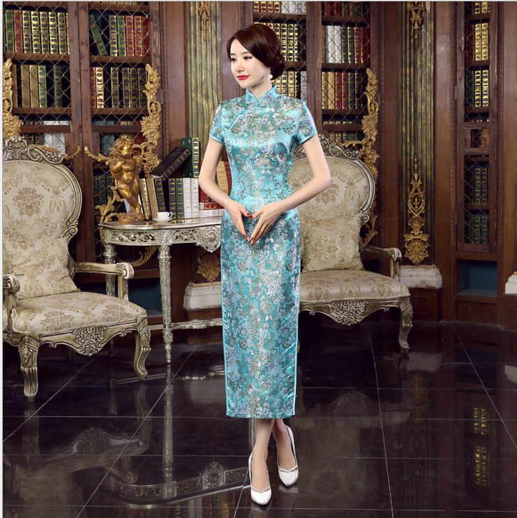 Sıcak satış mavi çin tarzı resmi elbise kadın ipek saten uzun Qipao Vintage zarif çiçek Cheongsam S M L XL XXL XXXL NC047