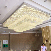 Hotel lobby project rectangular crystal lamp villa hall living room sales department sand table banquet hall custom lamps led