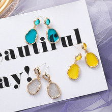 2019 Korea Design Candy Color Transparent Acrylic Oval Water Drop Long Earrings Irregular Geometry for Women