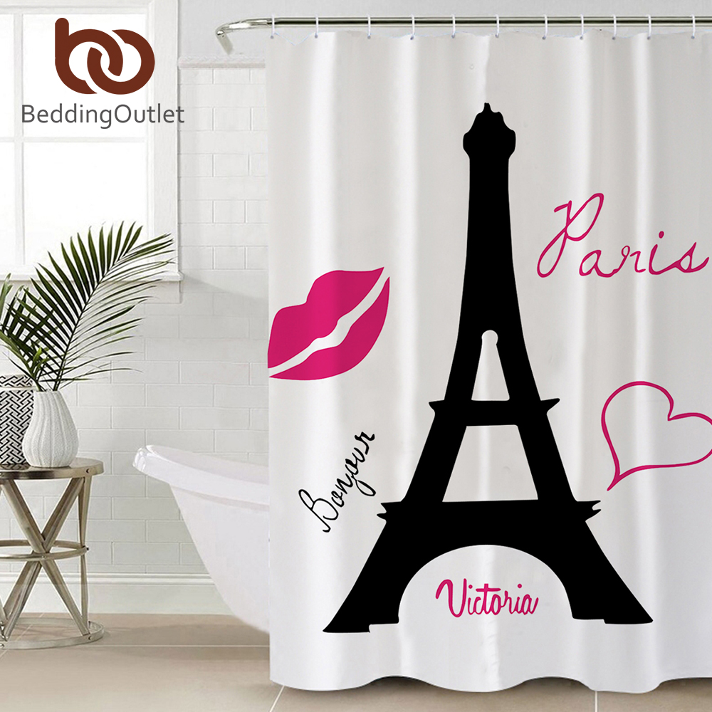 BeddingOutlet Paris Tower Shower Curtain Romantic Waterproof Decorative Bath Curtain With Hooks Classical for Bathroom banheiro