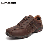 LINGGE Casual Men Shoes Full Grain Leather Rubber Sole Lace Up Luxury Shoes Men High Quality