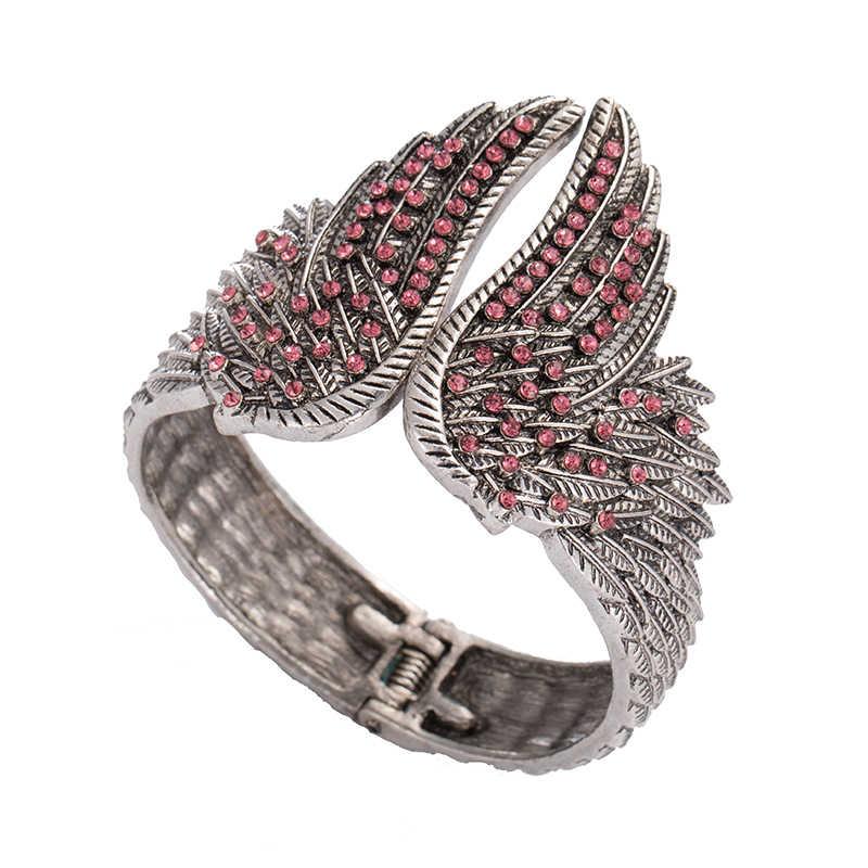 جديد وصول حار الملاك أجنحة صفعة سوار النساء السائق كريستال مجوهرات بسيطة هدية العتيقة الفضة اللون الإسورة الاكسسوارات والمجوهرات