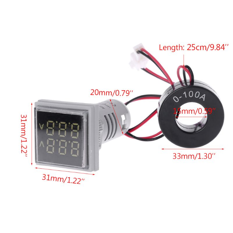 Mini LED Digital Dual Display Voltmeter Ammeter Meter Voltage Current Tester AC 60-500V 0-100A Display Gauge