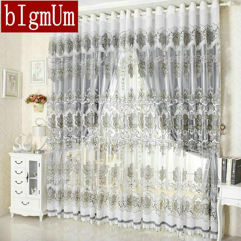 Ready Made Luxury Beads for Decoration Home Curtains For Living Room/Bedroom Tulle+ Thick Curtains Eyelet Hook Free Shipping