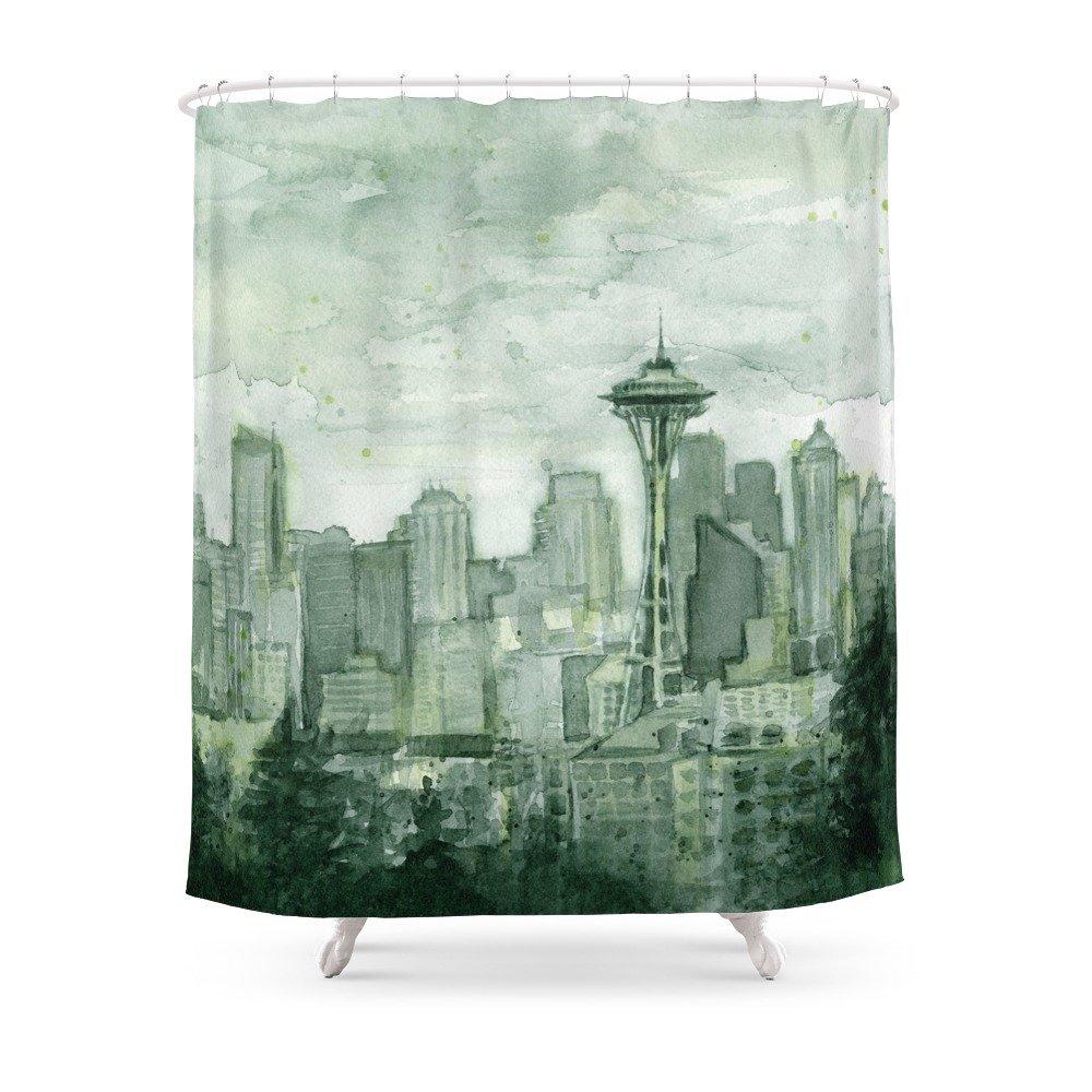 Seattle Skyline Watercolor Space Needle Emerald City 12th Man Art Shower Curtain Custom Curtain For Bathroom Waterproof