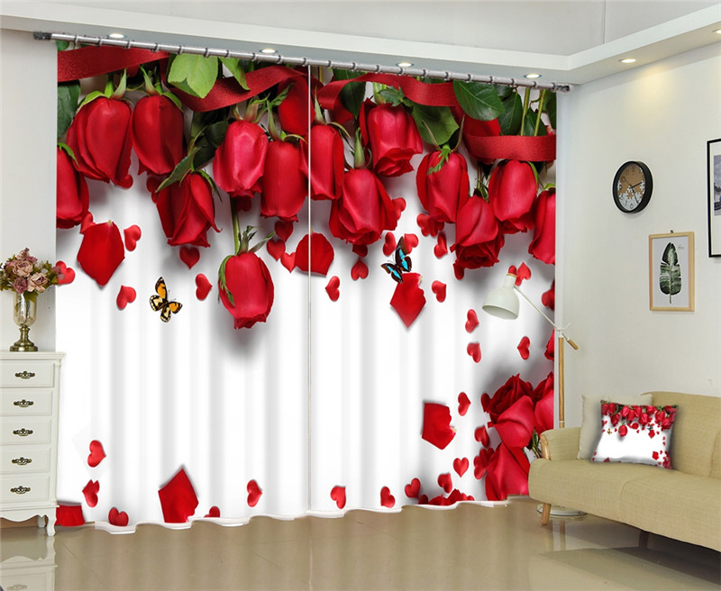 Red Rose Luxury Blackout 3D Window Curtains For Living