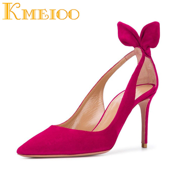 Kmeioo Wedding Shoes Women Prom Pumps Pointed Toe High Heels BowTie Thin Heels Cut-outs Stiletto Sandals Plus Size Zapatos Mujer 2017 summer red satin elegant wedding bridal shoes women stiletto high heels pears chain ladies sandals zapatos mujer 0640a 13k