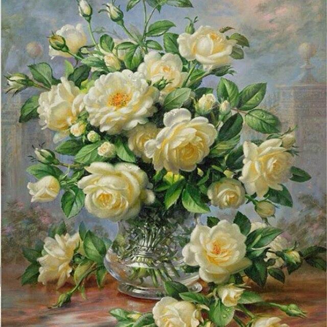 Сделай сам Алмаз живопись вышивки крестом наборы Алмаз вышивка Белая Роза 4050 см 3d квадратных дрель горный хрусталь Вставить полный рукоделие