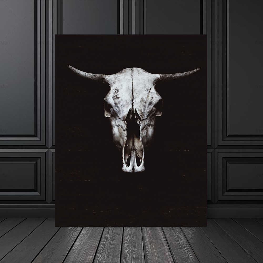 Nordic Canvas Painting Black White Cow Skull Animal Face Print Picture Animal Wall Art Poster Living Room Bedroom Home Decor
