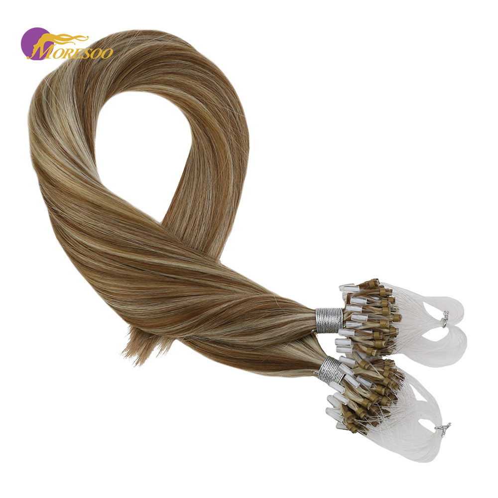 Moresoo Micro Bead Loop Hair Extensions Remy Human Hair Piano Color Blonde #17 Highlighted With Bleach Blonde #613 50G/Pack