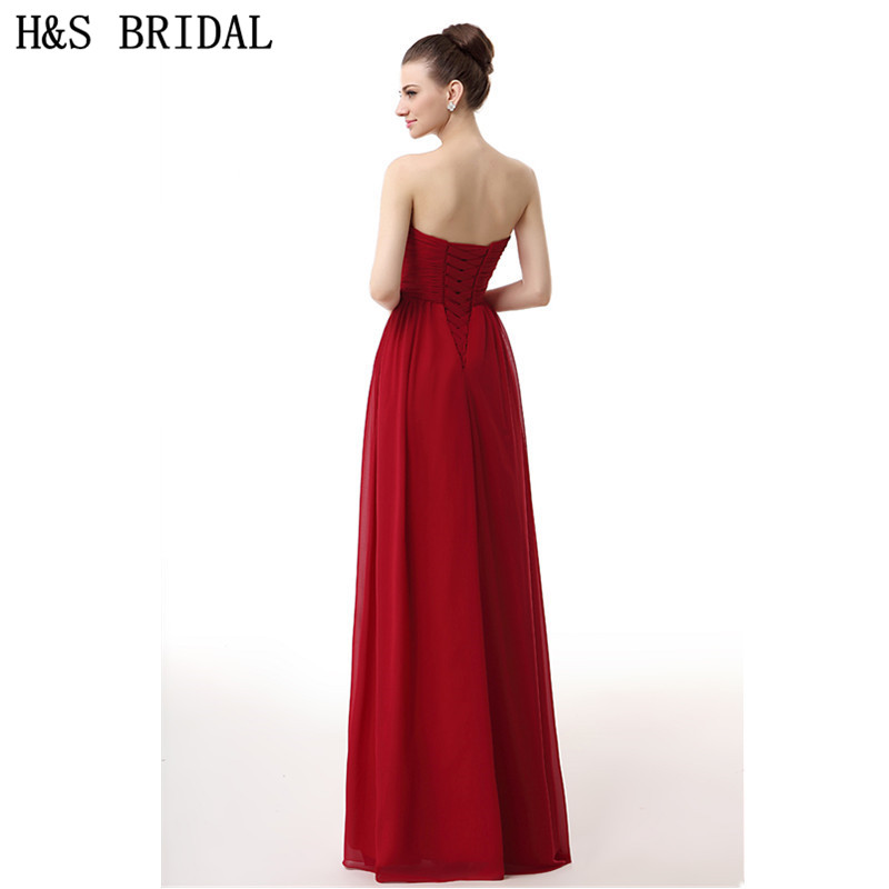 Hs Bridal Chiffon Sweetheart Elegant Evening Gowns Red Cheap