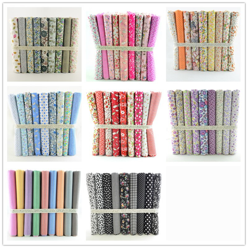 Free Ship 8 Sets lot 72PCS 50CMx50CM Cotton Fabric Fat Quarters Bundle Sewing Cloth for Tilda