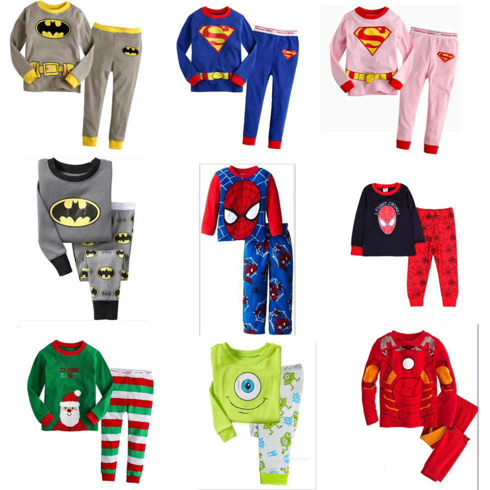 boys girls Spider-Man super man set spring children's clothing full pants +shirts suit kids clothes Pajamas sets hot casual 2015 2015 new arrive super league christmas outfit pajamas for boys kids children suit st 004