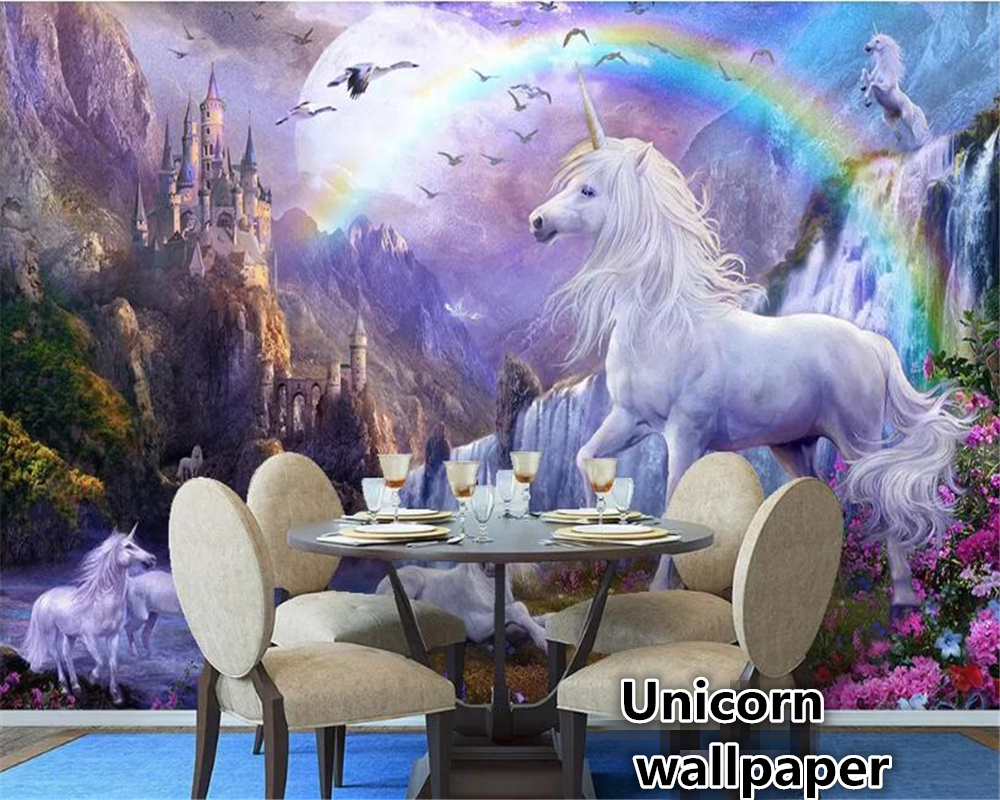 unicorn rainbow bedroom landscape sky painting beibehang mural oil paper waterfall gambar biru behang wallpapers aliexpress