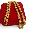 Hip Hop Chain  Yellow Gold Filled Mens Necklace Beads Chain 24 Inches