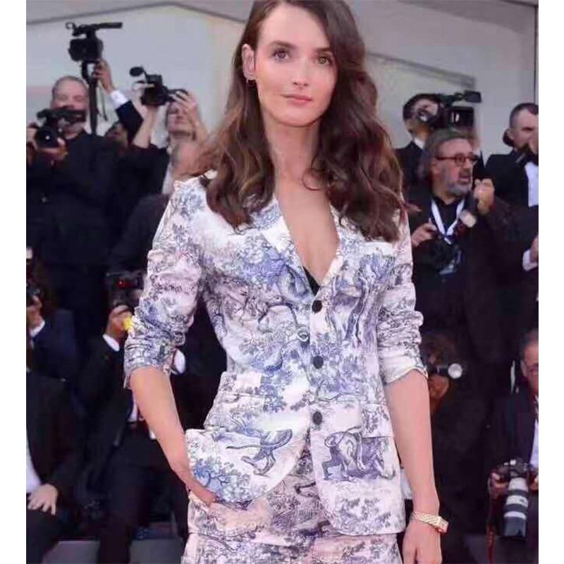Kadın Giyim'ten Blazerler'de Cosmicchic Hayvan Baskı Pamuk Blazer Yaka Yaka Tek Göğüslü Ceket Uzun Kollu Casual Kadın Blazer Pist Ceket 2019 SS'da  Grup 1
