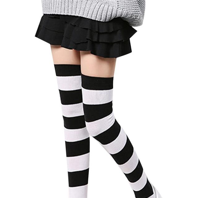 4ee483716fa29 2019 Hot sale fashion Women Girl Winter Over Knee Leg Warmer Striped Soft  Cotton Socks Leggin compression funny socks