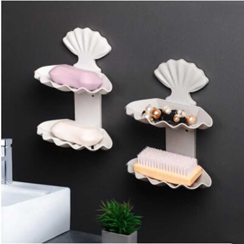 Creative Soap Dishes Box Without Perforation Double Bathroom Toilet Personality Portable Shell Shape Soap Shelving Products