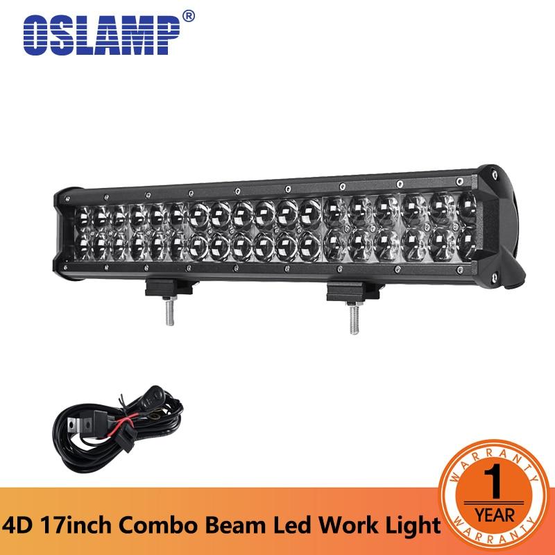 Oslamp 17inch 108W 4D Car LED Light Bar Combo Beam Offroad Led Driving Light HeadLights For jeep Truck SUV ATV 4x4 DC 12V 24V