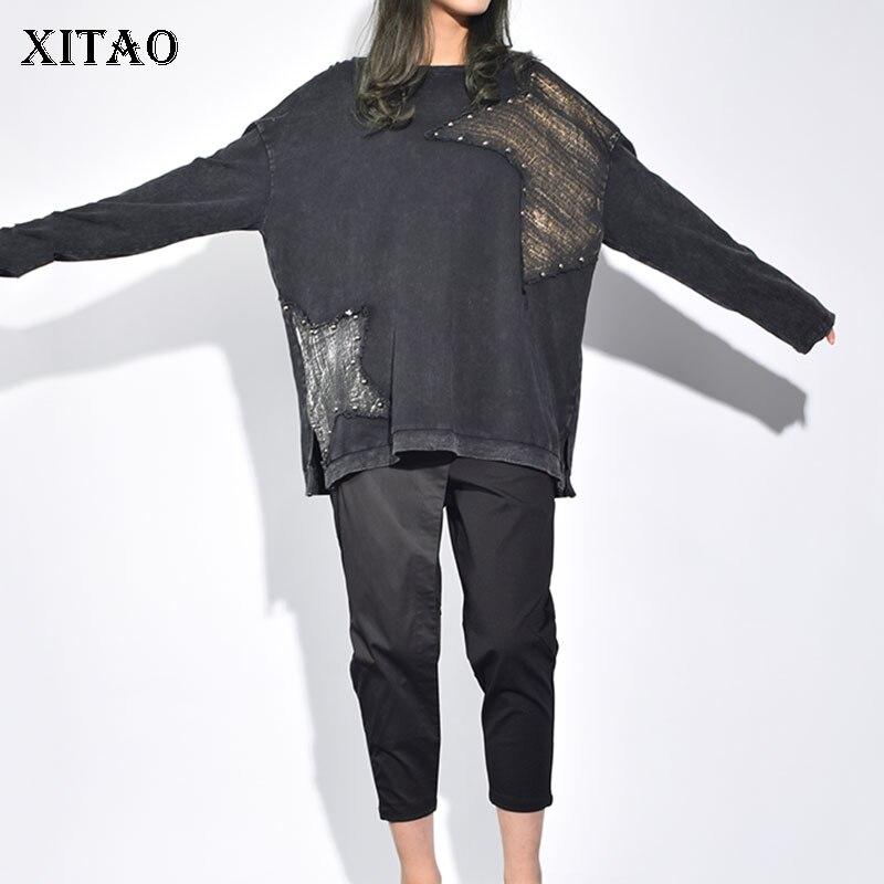 [XITAO] 2019 Spring New Women Korea Fashion O-neck Full Sleeve Casual Tee Female Rivet Print Match All Loose T-shirt  LJT3828