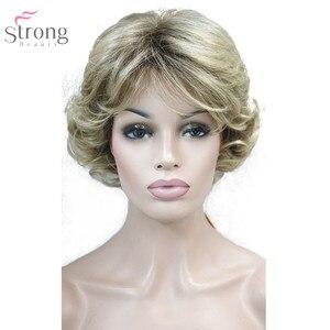 Image 4 - Perruque synthétique Blonde/noire bouclée pour femmes