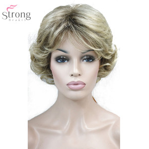 Image 4 - Strongbeauty 여성 합성 가발 capless 짧은 곱슬 머리 금발/검은 자연 가발