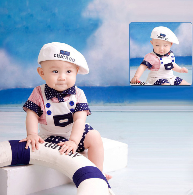 New Style Fashion Handsome Baby Children One Year Old Photo Toddler Costume Photography Props Boy