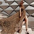 2015 лето Большой размер марка Boho леопардовым принтом v-образным вырезом без рукавов боковые сплит длиной макси женщины шифон Vestidos пляж сексуальное платье