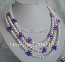 "wholesales charming 60"" long natural white purple pearl necklace pearl Jewelry,gift, free shipping"