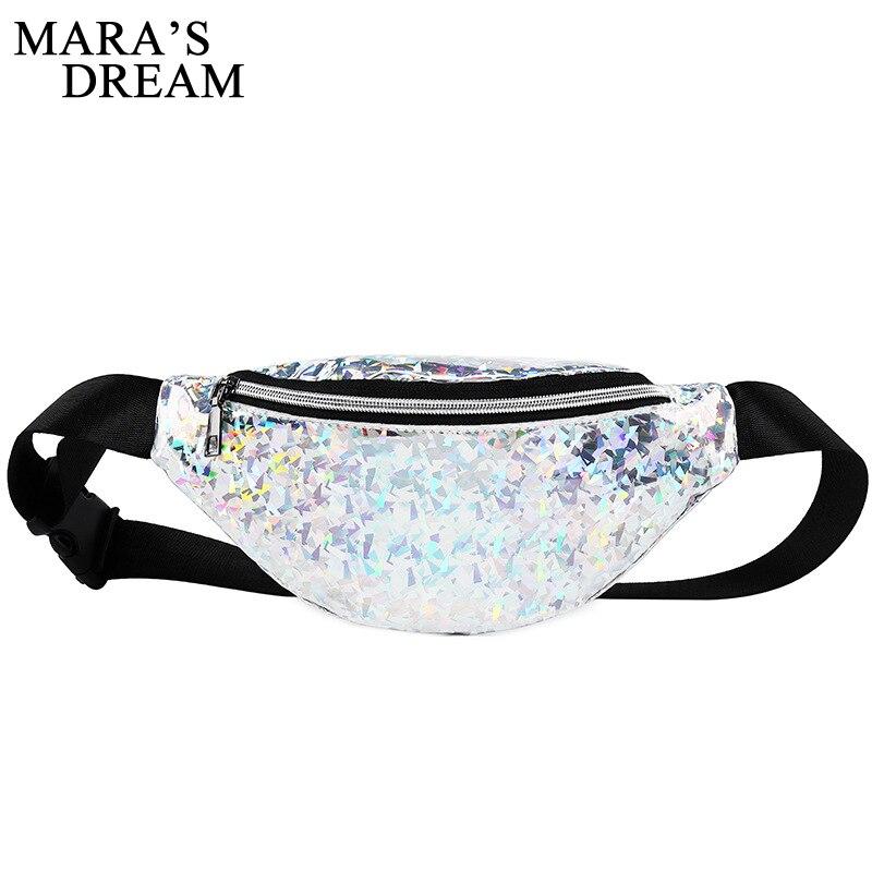 Mara's Dream 2018 Fashion Bling Leather Waist Packs Women Mochila Cintura Waist Bag Belt Bag Female Pouch PU Fanny Pack Bags