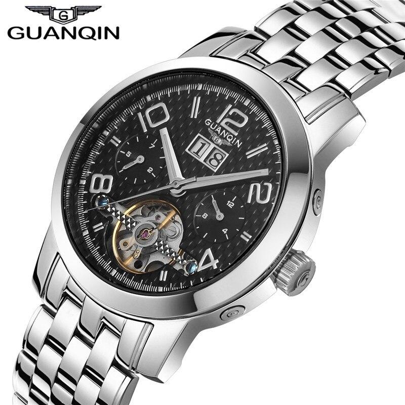 Automatique Montres GUANQIN Tourbillon Montre Hommes Lumineux Date Calendrier Complet Acier Squelette Mécanique Montres Mnale Horloge