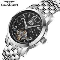 Relógios automáticos Turbilhão GUANQIN Homens Relógio Luminoso Calendário Data Esqueleto Mecânico relógios de Pulso de Aço Completo Relógio Mnale