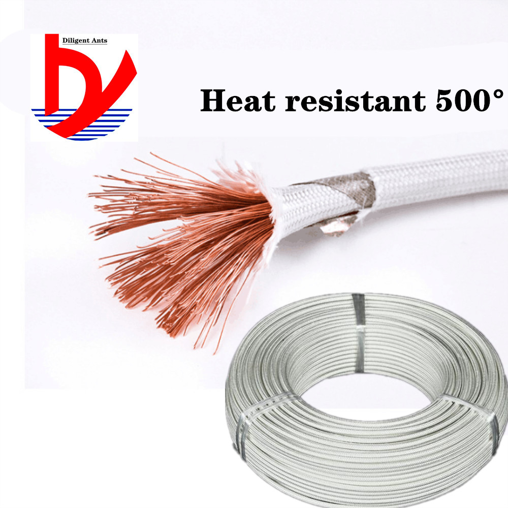 <font><b>Silicone</b></font> braided mica heat resistant 500° <font><b>cable</b></font> 20AWG 18AWG 17AWG 15awg <font><b>13awg</b></font> 11awg 9awg high temperature wire image