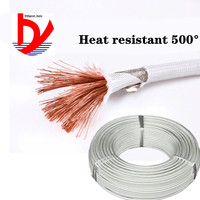 Cable de silicona trenzado de mica resistente al calor, cable de alta temperatura de 500 °, 20AWG, 18AWG, 17AWG, 15awg, 13awg, 11awg, 9awg