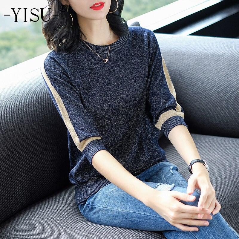 YISU Thin Sweater Women Short Sleeve Pullover Women Fashion Bright Silk Sweaters Women 2019 Spring Knitted Sweaters Tops Femme