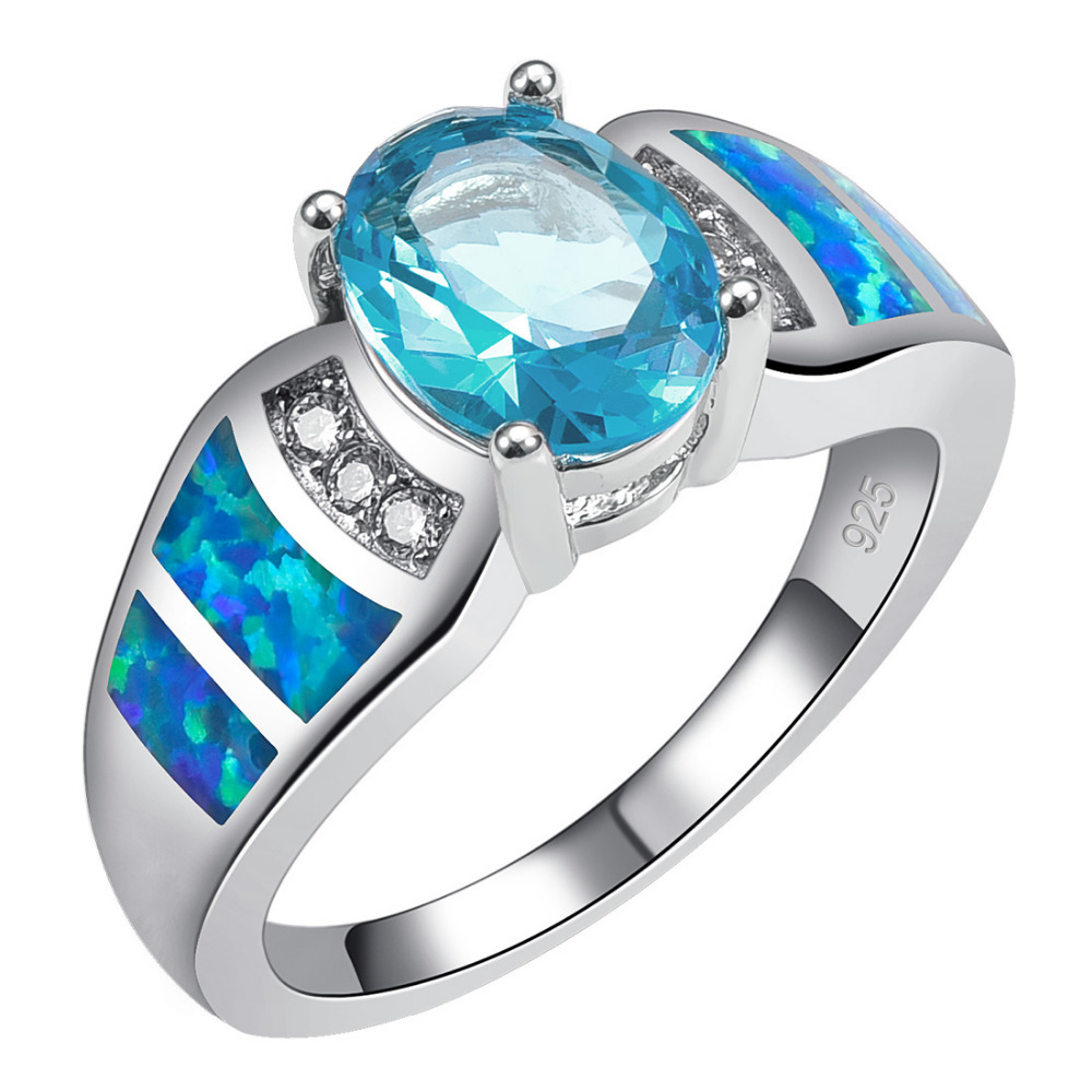 Simulated Aquamarine With Blue Fire Opal 925 Sterling Silver Ring Size 6 7 8 9 10 R1508