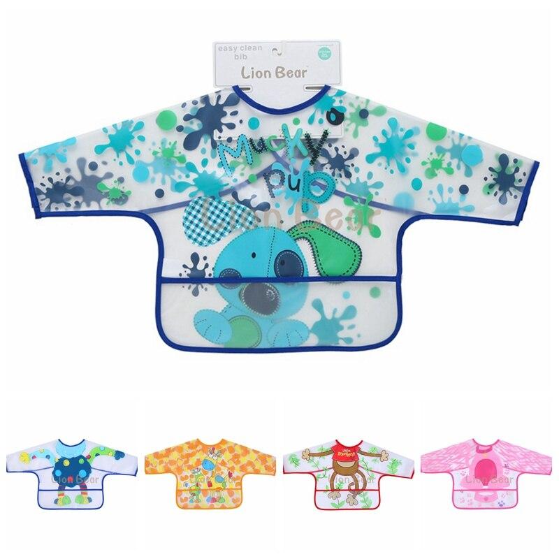 Hot Long Sleeve EVA Art Smock Bibs Apron Cartoon Soft Feeding clothing Children Bib Burp Baby Todders Waterproof 3-12 months