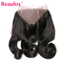 Beaufox 360 Lace Frontal Peruvian Loose Wave Closure With Baby Hair 100% Human Hair Non-remy Natural Color 8-20 Inch