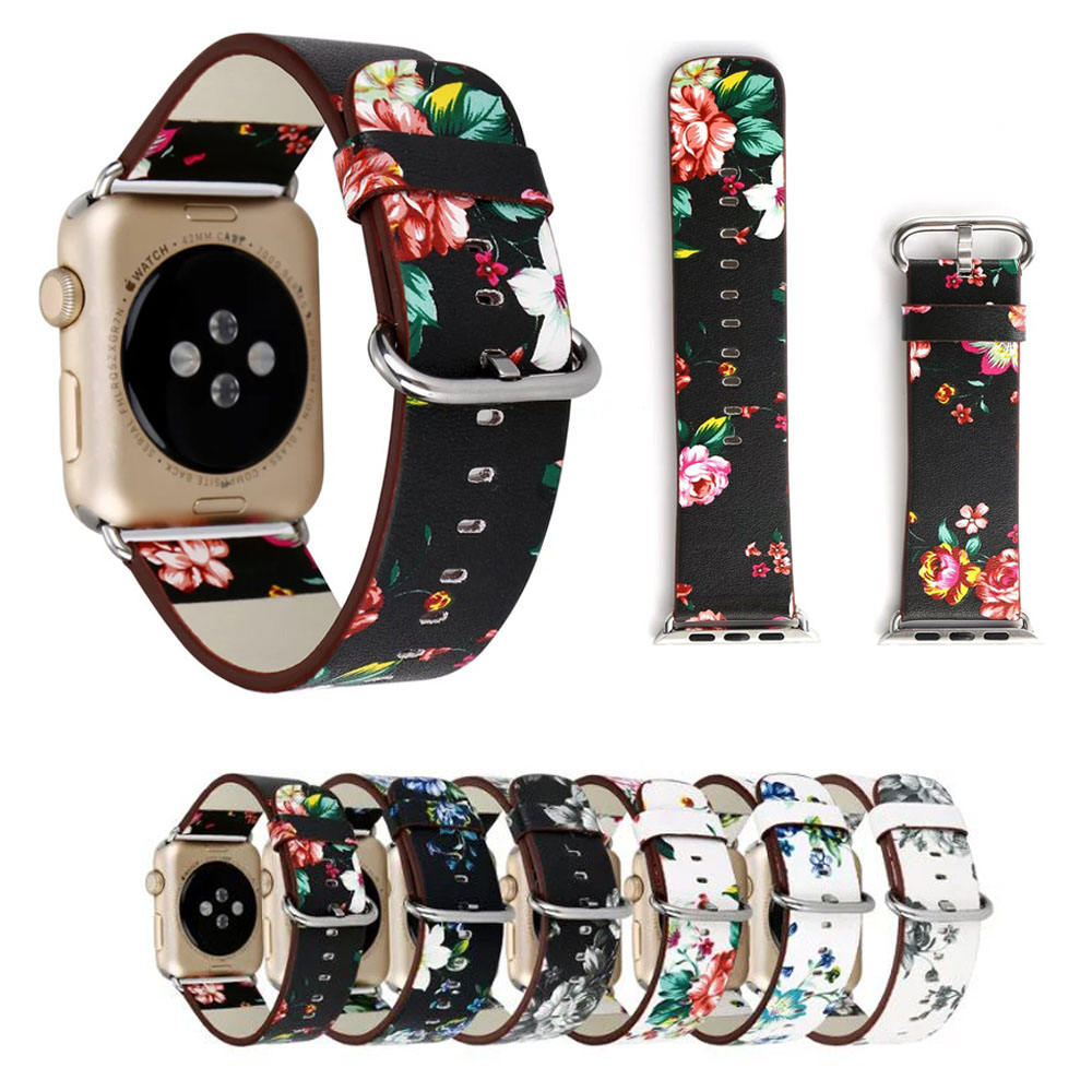 British Rural Style Floral Leather Wrist Strap for Apple Watch Band Flower Bracelet for iWatch Vintage Watchband 38mm 42mm