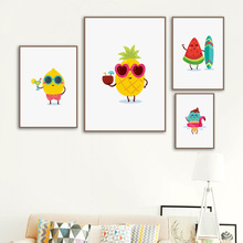 Cartoon Fruits Pineapple Ice Cream Mango Wall Art Canvas Painting Nordic Posters and Prints Pictures Baby Kids Room Decor