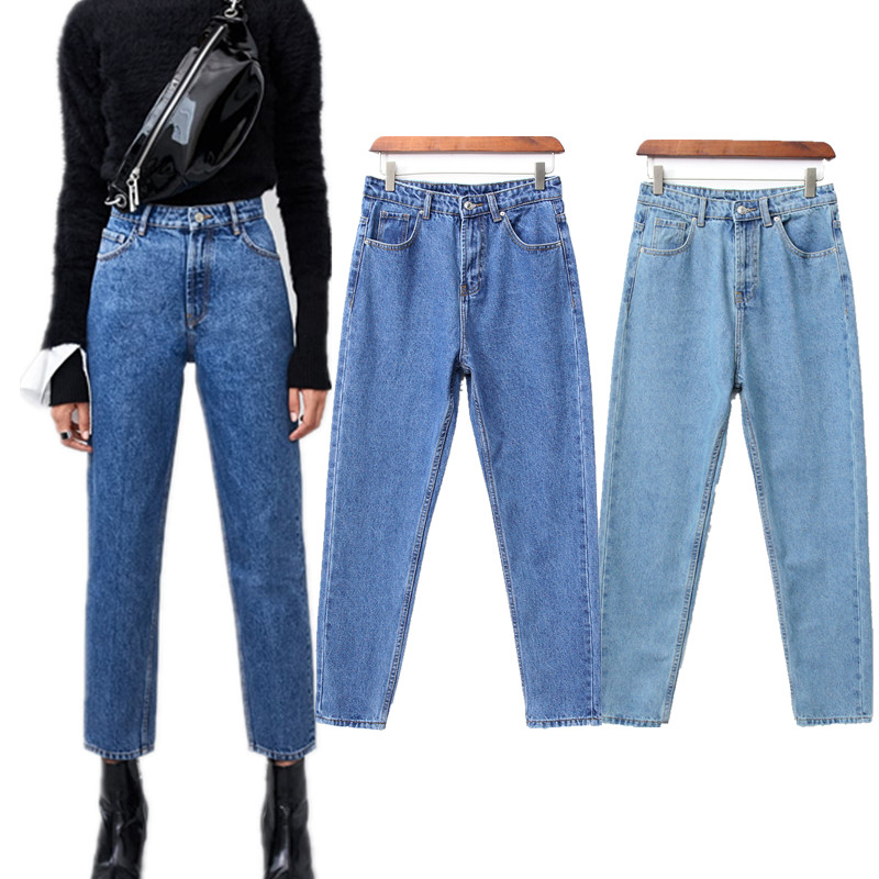 Withered New Jeans Women High Street Vintage Mom Jeans Harem Denim Pants100% Cotton High Waist Ripped Jeans For Women Plus Size